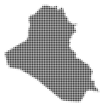 Iraq Map in halftone vector pictogram illustration  dotted iconic symbol on a white background.