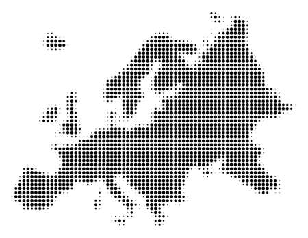 Europe Map on halftone dotted pattern style vector icon illustration on a white background.