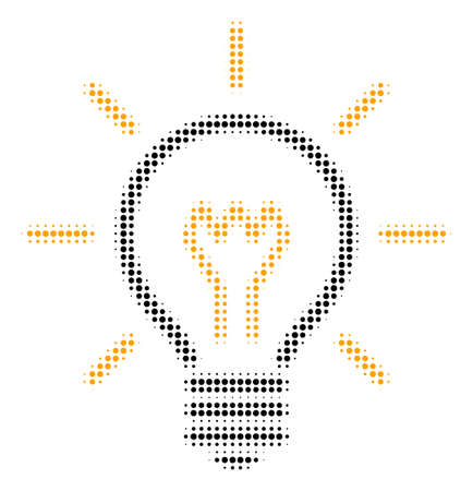 Light Bulb halftone vector icon. Illustration style is dotted iconic Light Bulb symbol on a white background. Halftone matrix is circle items.