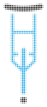 Crutch halftone vector pictograph. Illustration style is dotted iconic Crutch symbol on a white background. Halftone matrix is circle blots.