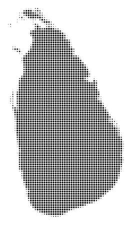 Sri Lanka Island Map halftone vector icon. Illustration style is dotted iconic Sri Lanka Island Map symbol on a white background. Halftone texture is round points.