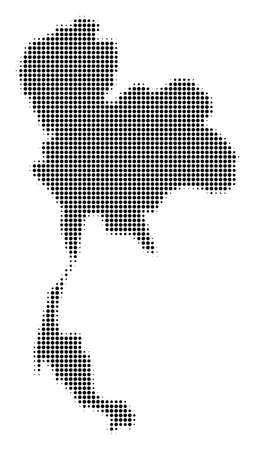 Thailand Map halftone vector icon. Illustration style is dotted iconic Thailand Map symbol on a white background. Halftone pattern is circle elements.