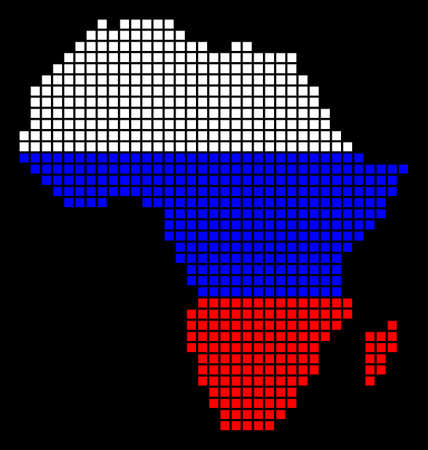 A dotted pixel Africa Map. Raster geographic map in Russia flag colors on a black background. Russian blue, red and white colored raster abstract collage of Africa Map organized of dot elements.