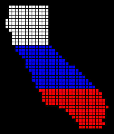 A dotted pixel California Map. Raster geographic map in Russia flag colors on a black background. Russian blue, red and white colored raster abstract collage of California Map made of square dots.