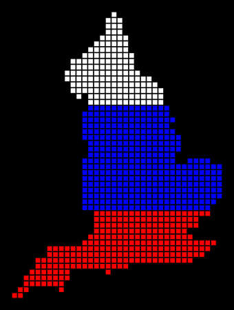 A dotted pixel England Map. Raster geographic map in Russia flag colors on a black background. Russian blue, red and white colored raster abstract composition of England Map created of dots.