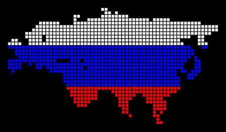 A dotted pixel Eurasia Map. Raster geographic map in Russia flag colors on a black background. Russian blue, red and white colored raster abstract pattern of Eurasia Map done of dots. Banco de Imagens
