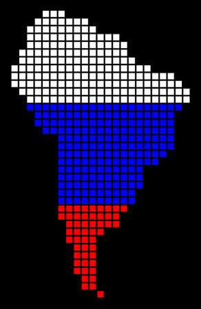 A dotted pixel South America Map. Raster geographic map in Russia flag colors on a black background. Russian blue,