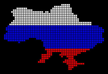 A dotted pixel Ukraine Map With Crimea. Raster geographic map in Russia flag colors on a black background. Russian blue, Banco de Imagens