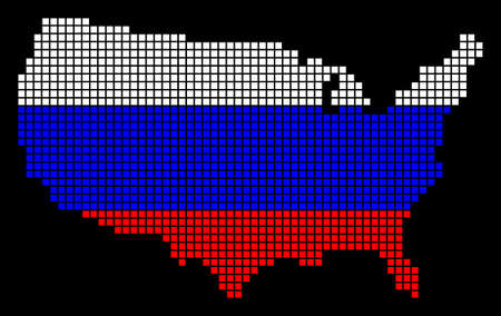 A dotted pixel USA Map. Raster geographic map in Russia flag colors on a black background. Russian blue, red and white colored raster abstract composition of USA Map made of square dots. Banco de Imagens