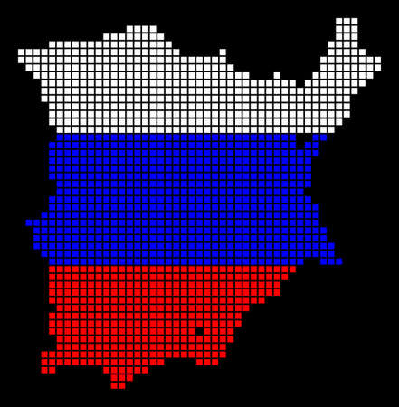 A dotted pixel Koh Samui Map. Raster geographic map in Russia flag colors on a black background. Russian blue, red and white colored raster abstract concept of Koh Samui Map combined of dots. Banco de Imagens