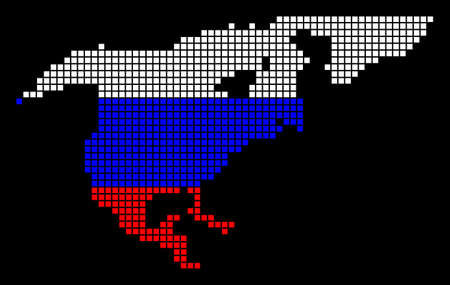 A dotted pixel North America Map. Raster geographic map in Russia flag colors on a black background. Russian blue,