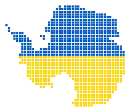 A dotted pixel Antarctica Map. Raster geographic map in Ukraine flag colors on a white background.