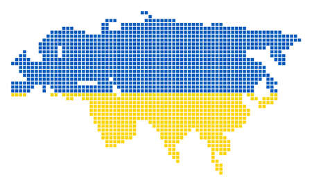A dotted pixel Europe And Asia Map. Raster geographic map in Ukraine flag colors on a white background. Stock Photo