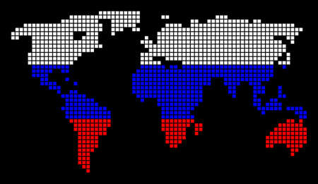 A dotted pixel World Map. Raster geographic map in Russia flag colors on a black background. Russian blue, red and white colored raster abstract pattern of World Map created of dot elements.