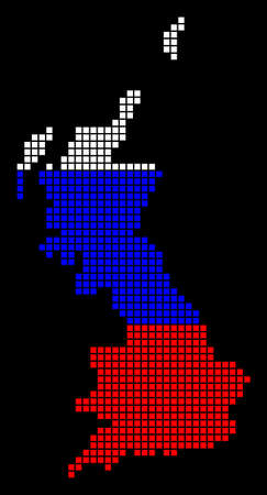 A dotted pixel Great Britain Map. Raster geographic map in Russia flag colors on a black background. Russian blue,