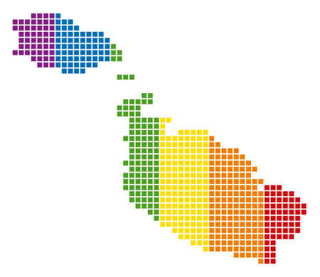 A dotted LGBT Malta Island Map for lesbians, gays, bisexuals, and transgenders. Raster geographic map in LGBT flag colors on a white background.