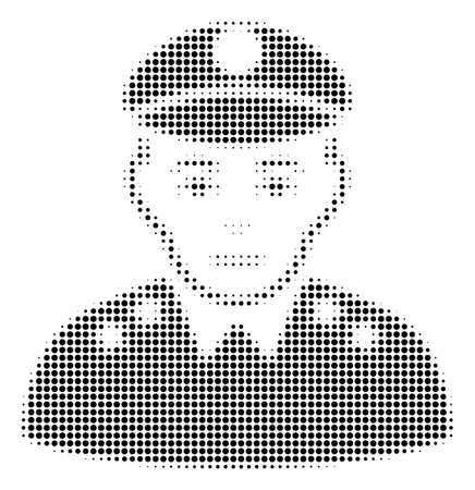 Army General halftone raster pictograph. Illustration style is dotted iconic Army General symbol on a white background. Halftone texture is circle points. Stock Photo