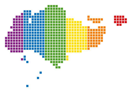 A dotted LGBT Singapore Map for lesbians, gays, bisexuals, and transgenders. Raster geographic map in LGBT flag colors on a white background. Banco de Imagens