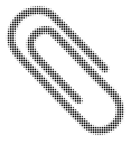 Paperclip halftone raster pictogram. Illustration style is dotted iconic Paperclip symbol on a white background. Halftone texture is round blots. Stock Photo