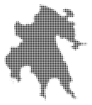 Peloponnese Half-Island Map halftone raster pictograph. Illustration style is dotted iconic Peloponnese Half-Island Map symbol on a white background. Halftone texture is round blots.