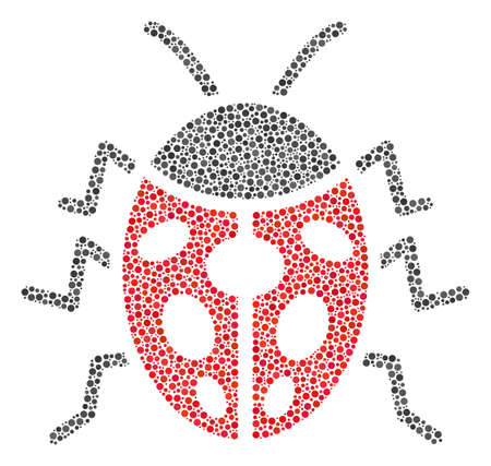Ladybird Bug mosaic of round dots in different sizes and color tints. Round dots are combined into ladybird bug raster collage. Dotted raster illustration. Stock Photo