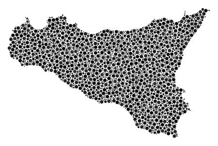 Sicilia Map composition of circle dots in variable sizes and color hues. Circle dots are combined into sicilia map raster collage. Dotted raster illustration.