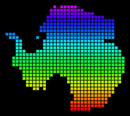 A dot Antarctica map vector geographic map in bright spectrum colors on a black background. Colorful vector abstract collage of Antarctica map organized of dot elements.  イラスト・ベクター素材
