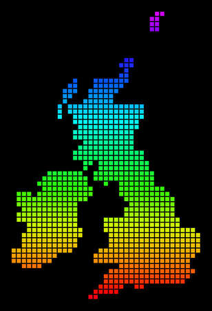 A dot Great Britain and Ireland map vector geographic map in bright spectrum colors on a black background. Colorful vector abstract collage of Great Britain and Ireland map organized of dot elements.