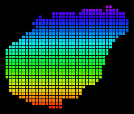 A dot Hainan Island map vector geographic map in bright spectrum colors on a black background. Colorful vector abstract collage of Hainan Island map organized of dot elements.