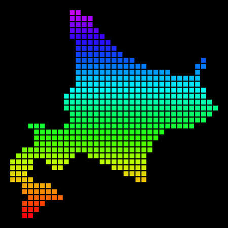 A dot Hokkaido Island map vector geographic map in bright spectrum colors on a black background. Colorful vector abstract collage of Hokkaido Island map organized of dot elements.