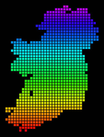 A dot Ireland Island Map. Vector geographic map in bright spectrum colors on a black background. Color vector abstract mosaic of Ireland Island Map combined of dots.