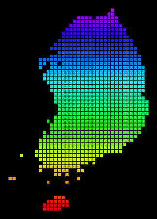 A dot South Korea Map. Vector geographic map in bright spectrum colors on a black background. Colorful vector abstract pattern of South Korea Map composed of dot elements.