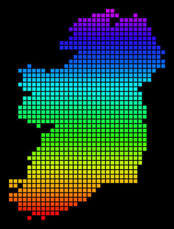 A dot Ireland Map. Vector geographic map in bright spectrum colors on a black background. Color vector abstract pattern of Ireland Map made of square dots. Illustration