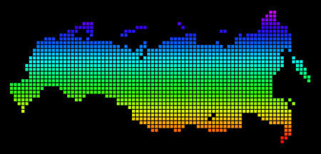 A dot Russia Map. Vector geographic map in bright spectrum colors on a black background. Multicolored vector abstract mosaic of Russia Map combined of dots.