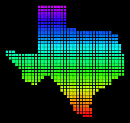 A dot Texas Map. Vector geographic map in bright spectrum colors on a black background. Multicolored vector abstract composition of Texas Map composed of small squares.