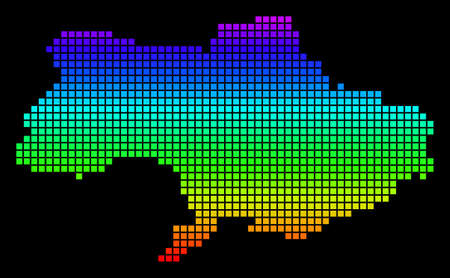 A dot Ukraine Map. Vector geographic map in bright spectrum colors on a black background. Colored vector abstract concept of Ukraine Map combined of square dots.