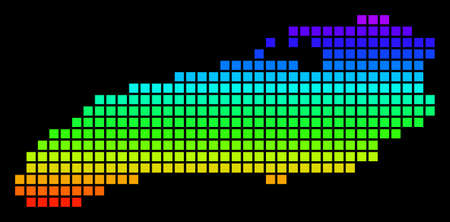 A dot Ontario Lake Map. Vector geographic map in bright spectrum colors on a black background. Color vector abstract concept of Ontario Lake Map combined of dots.