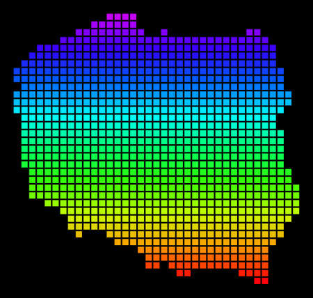 A dot Poland Map. Vector geographic map in bright spectrum colors on a black background. Colored vector abstract mosaic of Poland Map designed of dots.
