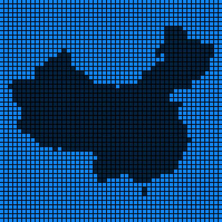 Dotted pix elated China Map on black and blue colored illustration. Ilustração