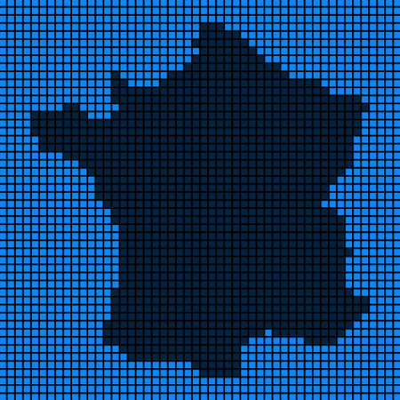 Dotted pix elated France map on black and blue colored illustration. Ilustração