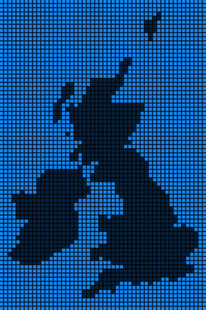 Dotted pix elated Great Britain And Ireland Map on black and blue colored illustration. Ilustração