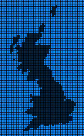 Dotted pix elated Great Britain Map on black and blue colored illustration. Ilustração