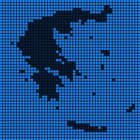 Dotted pix elated Greece Map on black and blue colored illustration.