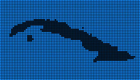 Dotted pix elated Cuba Map on black and blue colored illustration.
