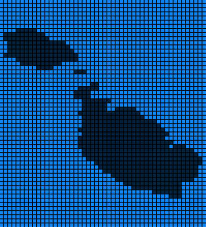 Dotted pixel Malta Island Map. Vector geographic map in blue colors. Vector mosaic of Malta Island Map created of rounded squares.