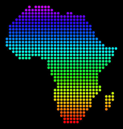 Spectrum dotted pixelated Africa Map. Vector geographic map in bright colors on a black background. Colorful vector concept of Africa Map constructed of circle elements.