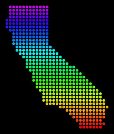 Spectrum dotted pixel California Map. Vector geographic map in bright colors on a black background. Colored vector collage of California Map designed of circle dots. Illustration
