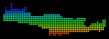 Spectrum dotted pixel Crete Island Map. Vector geographic map in bright colors on a black background. Colored vector pattern of Crete Island Map designed of circle dots.