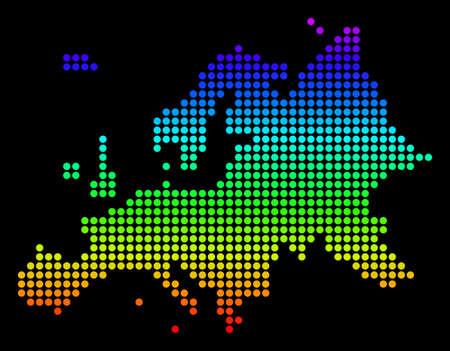 Spectrum dotted pixelated Europe Map. Vector geographic map in bright colors on a black background. Color vector collage of Europe Map made of dots.