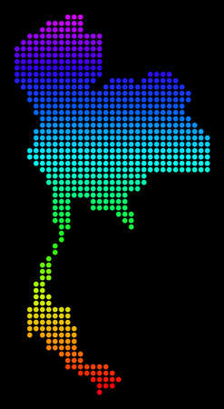 Spectrum dotted pixel Thailand Map. Vector geographic map in bright colors on a black background. Color vector collage of Thailand Map constructed of dots.